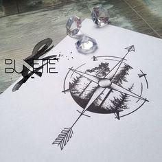 Compass tree forest dot work tattoo, (for me. Tattoo Bunt, Et Tattoo, Tattoo Und Piercing, Tattoo Drawings, Body Art Tattoos, Sleeve Tattoos, Tatoos, Tattoo Quotes, Tattoo Thigh