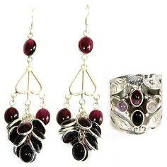 Amazon.com: Sterling Silver Garnet Earrings Rings Jewelry Sets for Women: ShalinCraft: Jewelry