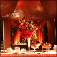 Buffet Table with lovely center piece.