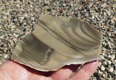 This Polish Flint (Flintstone) Slab has swirling brownish grey and cream stripes. Polish Flint is a hard, sedimentary cryptocrystalline form of