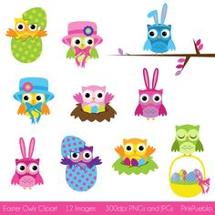 Easter Owls Clipart, Easter Clipart Clip Art- Commercial and Personal Use. $6.00, via Etsy.