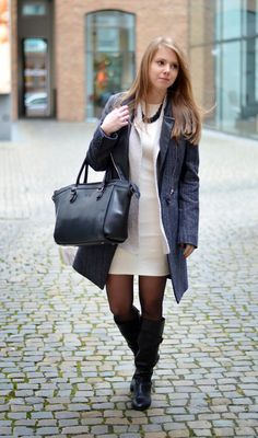 Zara Off White Dress, Massimo Dutti Beige Knit, Karen Millen Grey Coat, Scapa Tall Black Boots - Window On My Wardrobe Blog