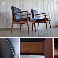 pair of original mid-century, modern club chairs hutch has curated in Omaha, NE.  www.hutchmodern.com