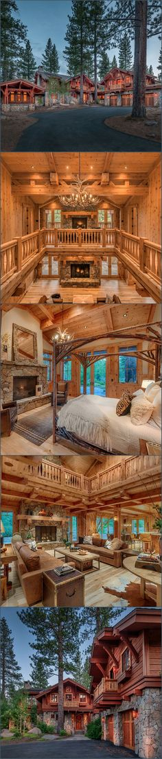 What a stunning large log home!