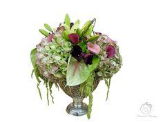 Beautiful Flower Arrangements, Beautiful Flowers, Amaranthus, Calla Lilies, Hydrangeas, Blossoms, Flower Art, Glass Vase, Lily