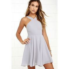 Forevermore Grey Skater Dress ($59) ❤ liked on Polyvore featuring dresses, grey, grey halter top, flared skirt, grey skater dress, grey skater skirt and grey dress