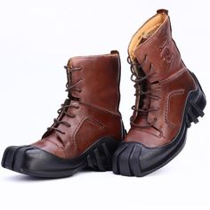 Men's Genuine Leather Lace-up Skull Tactical Military Boots/Bikers Motorcycle Boots - Boots - Motorrad Ankle Boots Men, Brown Ankle Boots, Shoe Boots, Man Shoes, Mens Motorcycle Boots, Biker Boots, Motorcycle Outfit, Combat Boots, Wedding Boots