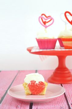 Surprise Heart Cupcakes With Coconut Frosting