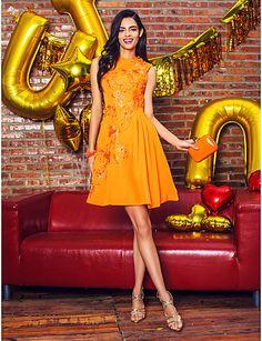 Vestido Cocktail Party Naranja hasta la Rodilla @ Vestidos de Fiesta Baratos Blog