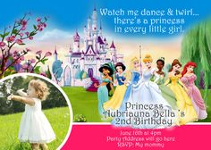 Disney Princess Invitation Digital File 4X6 or by digitalparties, $6.00