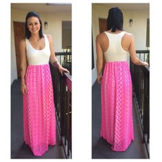 NEW Neon Pink Maxi Dress with Aztec Print Skirt / Size Medium / Boutique Brand #Nymphe #Maxi #Casual