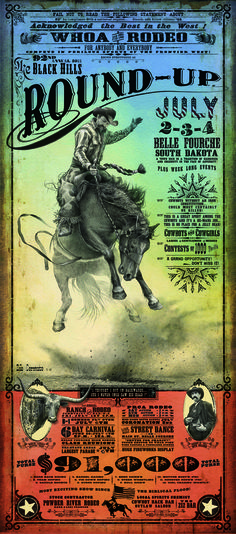 Black Hills Roundup Rodeo poster.