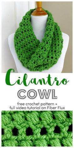 Cilantro Cowl, free crochet pattern + full video tutorial on Fiber Flux - Super knitting Crochet Scarves, Crochet Shawl, Crochet Stitches, Crochet Hooks, Knit Crochet, Double Crochet, Crochet Granny, Crocheted Scarves Free Patterns, Crochet Cowl Free Pattern