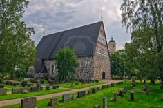 Medieval greystone Church of St  Mary in Hollola  Finnish  Hollolan kirkko , Finland  One of the 86 Finnish stone churches completed during ...