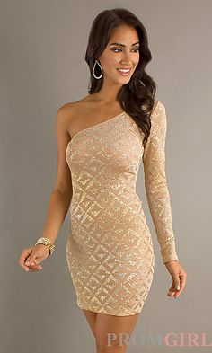 Short Metallic One Sleeve Dress by Jump at PromGirl.com #short #gold #one Shoulder