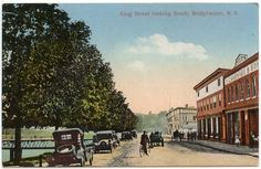 Bridgewater Nova Scotia Canada View King Street looking South 1928 Bridgewater Nova Scotia, Devon Uk, Cape Breton, Picture Postcards, The Province, Street Look, Beautiful Places, Canada, Travel