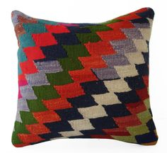 Sukan Hand Woven Wool Turkish Kilim Pillow Cover  16x16 by sukan