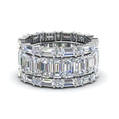 Emerald Cut Eternity Band With Matching Baguette And Round Womens Wedding Bands with Diamonds in 950 Platinum exclusively styled by Fascinating Diamonds