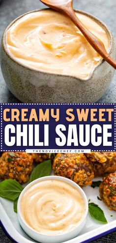 A game day appetizer with only 3 ingredients! Creamy Sweet Chili Sauce has a unique flavor that is absolutely addicting. You won't be able to stop once you serve this easy make-ahead appetizer with chicken, sausage balls, veggies, chips, and more! Save this dip recipe! Easy Make Ahead Appetizers, Best Party Appetizers, Appetizer Recipes, Snack Recipes, Snacks, Dip Recipes, Yummy Recipes, Dipping Sauces For Chicken, Sauce For Chicken