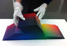 Nous devons cette magnifique création baptisée « RGB Colorspace Atlas » à Tauba Auerbach, artiste américaine.  Ce livre de 3 632 pages en forme de cube représente l'ensemble des couleurs visibles par l'oeil humain.  On peut voir dans cet ouvrage toutes les combinaisons possibles par l'assemblage des couleurs RGB (Red, Green, Blue). L'impression de ce livre est réalisée par Daniel E. Kelm.