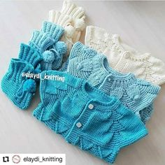 Blusas y manoplas de bebé tejido a dos agujas Boho, Gloves, Denim, Jackets, Instagram, Fashion, Dress, Shades Of Blue, Tutorials