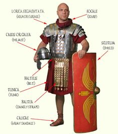 Typical equipment of the Roman legionnaire.  Only Roman citizens could sign up for the army.  They had to be fit.  They were not allowed to marry.  Their armor gave them excellent protection.  They carried a curved shield.  They could punch the enemy with the metal boss in the center.