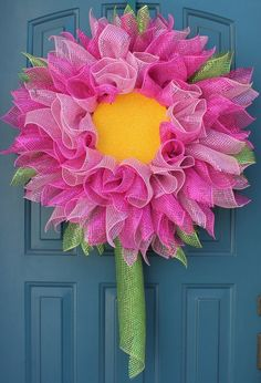 Hey, I found this really awesome Etsy listing at https://www.etsy.com/listing/231145465/gerbera-daisy-wreath-deco-mesh-flower