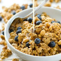 You won't believe that this loaded peanut butter granola is good for you! It's perfectly crunchy, peanut butter-y and addicting.