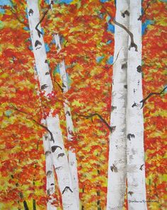 Autumn Birch Trees Art Print Painting, Fall Reproduction of Original Watercolor, Barbara Rosenzweig, Etsy, Colorful Leaves Home Decor Gift