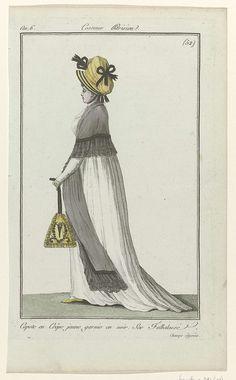 Journal des Dames et des Modes, Costume Parisien, 28 juillet 1798, An 6, (52) : Capote en Crêpe..., Anonymous, 1798