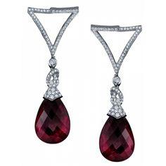Teardrop Briolette Earrings. Rubellite briolettes, white diamonds. Robert Procop.