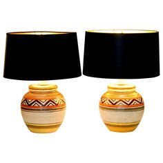 Pair of Vintage Bitossi Italian Art Pottery Navajo Tribal Lamps | From a unique collection of antique and modern table lamps at https://www.1stdibs.com/furniture/lighting/table-lamps/