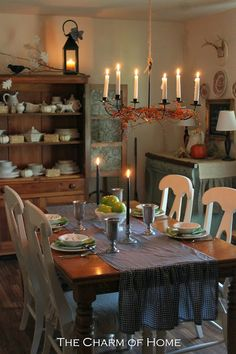 The Charm of Home: Fall Around the House- romantic dining room, runner, lighting, cupboard, wow!!!!!!!!!