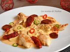 Proceeds from Nathou: Aiguillettes chicken chorizo ​​cream sauce I Love Food, Good Food, Yummy Food, Chefs, Salty Foods, Food Inspiration, Food To Make, Chicken Recipes, Pasta Recipes