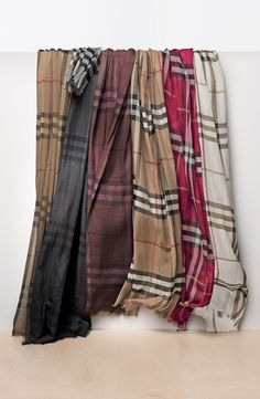 Want one in every color! Hooked on these ombré check Burberry scarves.