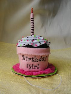 Birthday Girl Cupcake Hat TM by Sew Cute Sweets by CrashCanStudio, $24.00