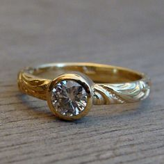 Delicate Moissanite and Recycled 18k Yellow by McFarlandDesigns, $848.00