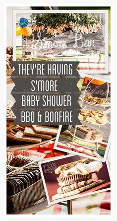 S'More Theme Baby Shower BBQ and Bonfire www.BrightGreenDoor.com
