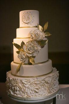 Beautiful Blooms MK Photography Whipped Bake Shop White and Gold Cake Saigon Maxim Rosettes