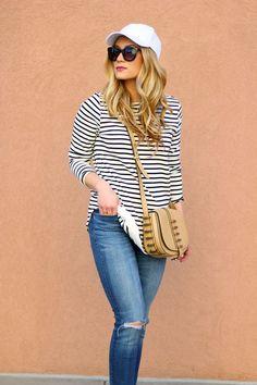 stripe tee and baseball cap style