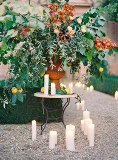 Candles lining the aisle: http://www.stylemepretty.com/2014/03/26/an-italy-workshop-the-wedding-inspiration/ | Photography: Jose Villa - http://josevillablog.com/