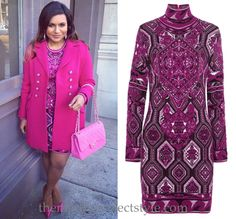 Mindy Kaling wears this richly patterned pink Pucci dress on the set of The Mindy Project today. (altered neckline)