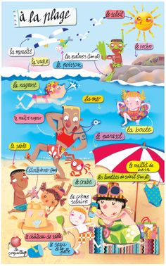 la plage. (mon enfance) http://www.collinslanguage.com/media/resources/first-time/french/vocabulary.pdf