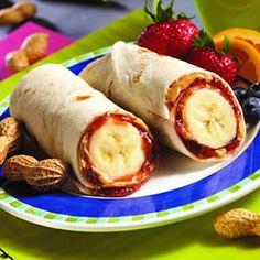 PBJ banana burritos Healthy School Lunches, Healthy Breakfasts, Healthy Brunch, School Snacks, College Snacks, Healthy Snacks, Healthy Recipes, Eating Healthy, Vegan Snacks