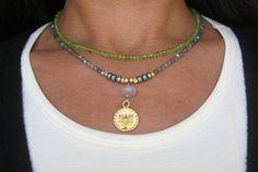 Labradorite peridot pearl lotus / om ohm necklace / by Tarinee, $95.00
