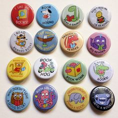 Lil' Readers Buttons SET FOUR by doctorpizzoli on Etsy