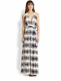 MILLY - Gustavia Silk Halter Maxi Dress - Saks.com