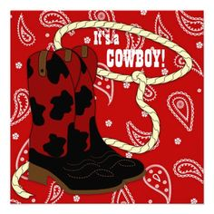 Red Bandana Red Cowboy Baby Shower Personalized Invitation