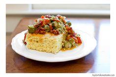 Okra dish on cornbread
