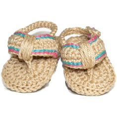 Pretty Girls Crochet Flip Flop Sandals with Soft Sole. Made with 100% cotton Yarn with Pink and Turquoise striped Detail and Pearly Button.    Suitable for Age 0-3 months Approx.    Size Approx: L 10.5cm x W 7cm (at widest point), 8cm from heel to toe post.  Sole is approx 1cm thick.